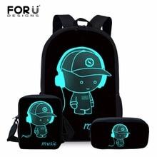 FORUDESIGNS 3pcs/set Student School Backpack Anime Luminous
