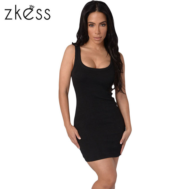 Black long tank top dress
