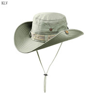 Men Women Fishing Sun Boonie Hat Summer UV Protection Outdoor Wide Brim Foldable Breathable Sunscreen Bucket Cap With Chin Strap