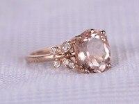 MYRAY 10x12mm Oval Cut Natural Pink Morganite Antique Vintage Engagement Ring 14k Rose Gold Wedding Rings