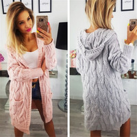 Elegant warm autumn winter long sweater cardigan women Twist knitted winter sweater cardigan Casual autumn grey cardigan