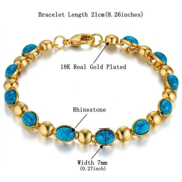 Online Shop Luxury Woman Bracelets Blue Rhinestone Bracelet Gold ... 403d5dc20a63