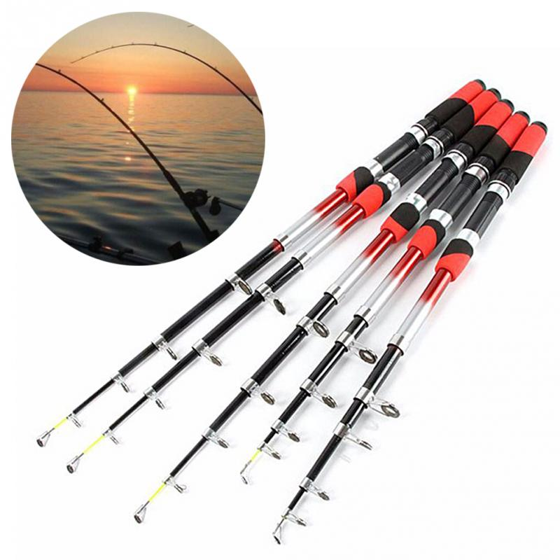 1.8M 2.1M 2.4M 2.7M 3.0M 3.6M 4.5M Portable Telescopic Fishing Rod CNC Aluminum Fishing Pole Travel Sea Fishing Spinning Rod