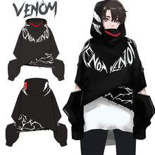 Аниме фильм Веном костюмы для косплея для женщин и мужчин Темный стиль граффити толстовки хлопковые кофты пальто новая мода Ограниченная серия Топ