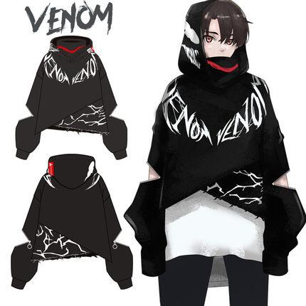 Anime film Venom Cosplay Costumes femmes hommes Style foncé Graffiti Hoodies coton Sweatshirts manteau nouvelle mode édition limitée haut
