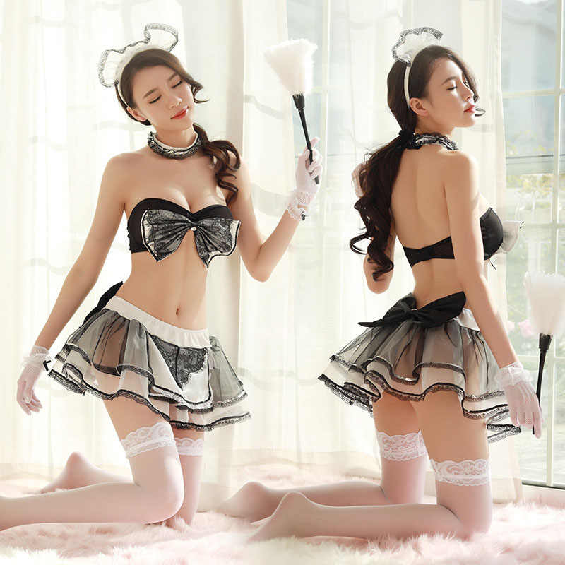 Adult Women Sexy Maid Costume Black Bow Bra Skirt Porn Games Set Couples  Erotic Role Play Cafe House Servant Uniform For Ladies