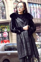 Clearance women's winter fashion genuine lambskin leather long coat shearing jacket for female with real fox fur collar black xl