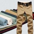 Nuevo 2017 ejercicio Pantalones Casuales Hombres Pantalones Ocasionales Rectos Delgados Pantalones de Algodón Lavado Con Agua