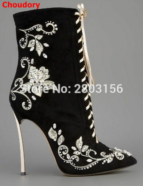 Hot Sale Pointed Toe Women Boots Lace Up Embroidery high heel Boots Botas Mujer Metal Heels Ankle Boots Shoes 35-41