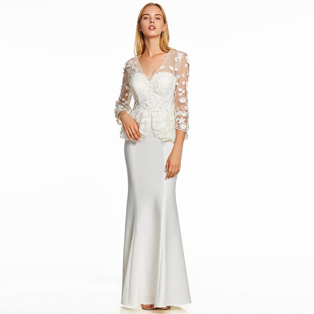 Dressv Ivory V Neck Trumpet   Evening     Dresses   Floor Length Long Sleeves Appliques Mermaid   Evening     Dress