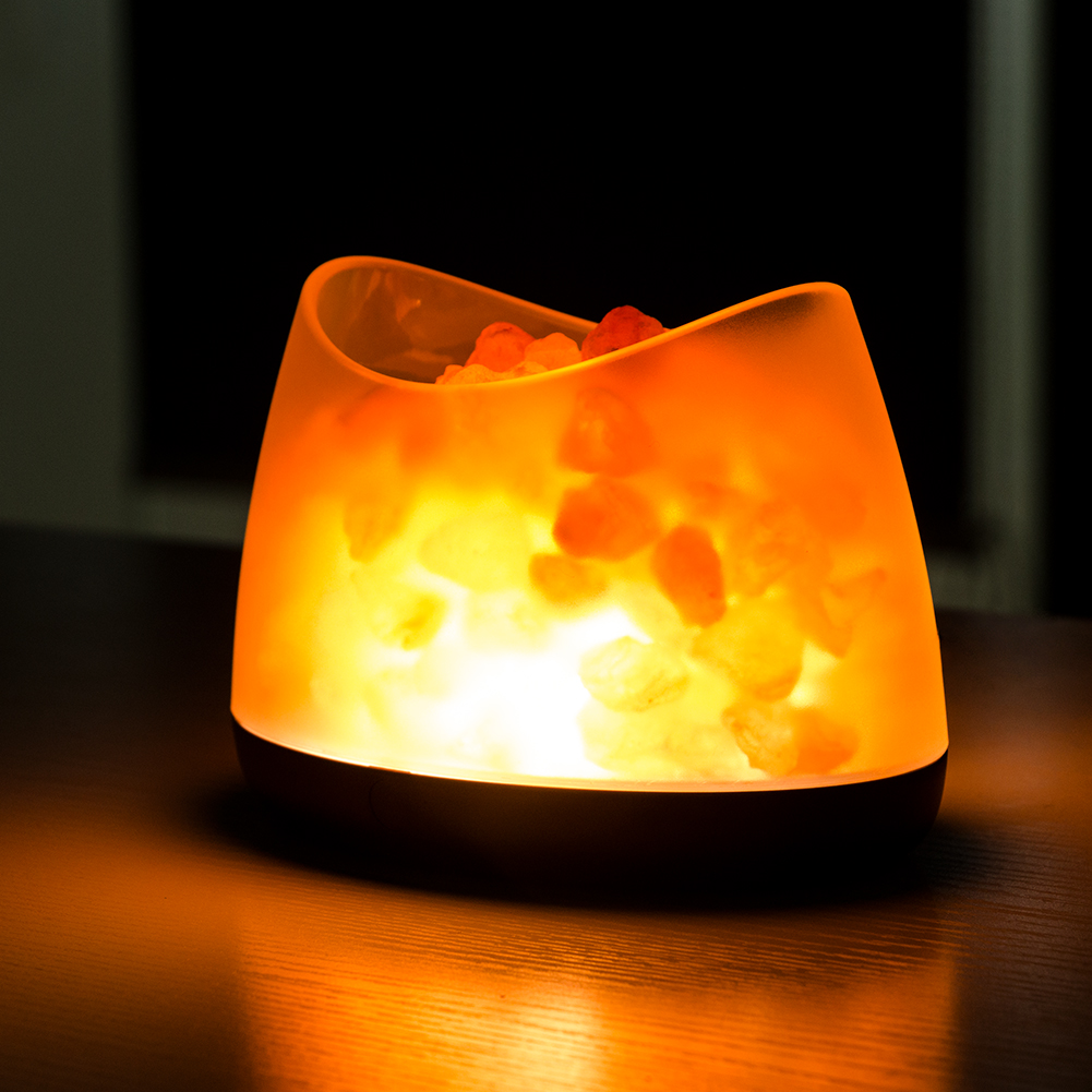 USB Powered Himalayan Crystal Salt Lamp Household Bedroom Bedside Night Light For Wedding Party DIY Decoration