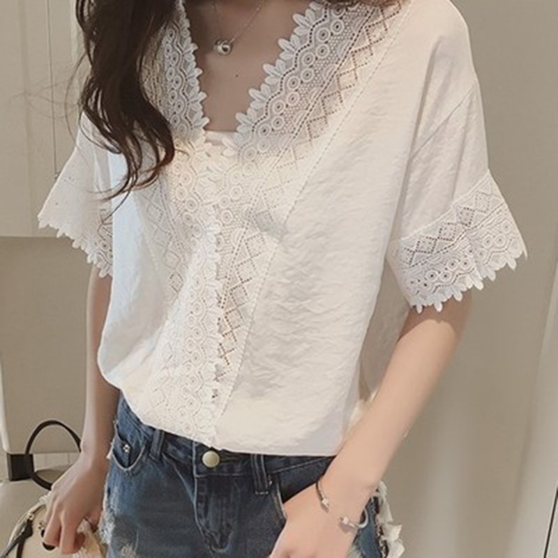 elegant white lace hollow out chiffon blouse shirt women short sleeves solid v neck loose chiffion shirt beach tops WS8704T