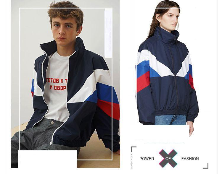 Men Jacket Gosha Rubchinskiy Classic Navy Tricolor Sport Long sleeve Windbreaker Jackets Hiphop Skateboards Couples Outwear S-XL (4)