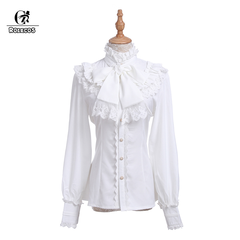 ROLECOS Vintage Women Shirt Sweet Lolita Chiffon Blouse Lace White Shirt Cosplay Costume Gothic Lolita Retro Blouse Classic-in Blouses & Shirts from Women's Clothing    1