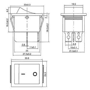 Image 3 - 5 個赤ランプ 4 ピンのオン/オフ 2 ポジションdpstロッカースイッチ 16A/250v KCD4 201