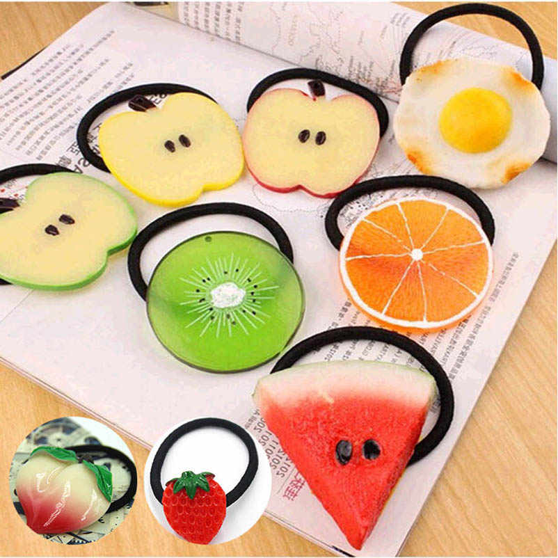 Fruit Orange Elastic Hair Bands Ponytail Holders Headwear Hair Accessories for Women & Children