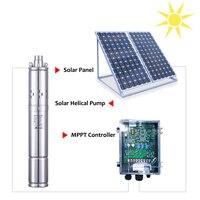 4T 100m solar water pond pump 4 inch water pump solar cell 72V brushless solar powered pump MPPT inverter water pump solar power
