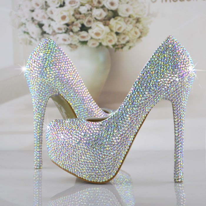 Fashion handmade crystal wedding shoes colorful rhinestone high heeled shoes sparkling diamond bride shoe big size