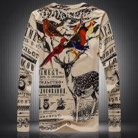 Birds deer letters pattern digital printing fashion long sleeve t shirt Autumn 2018 New quality luxury boutique t shirt menM 3XL