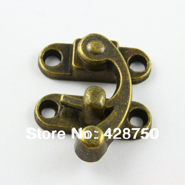 10 Pieces Antique Brass Jewelry Box Hasp Latch Lock 29x33mm with Screws