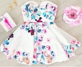 mini šaty sexy klub pláž neformální večírek elegantní květ květinové tištěné bez rukávů s hlubokým výstřihem z ramene streetwear 2018 léto