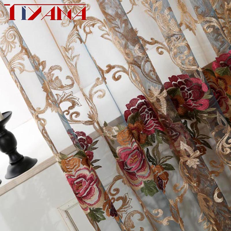 Luxury Embroidered Flower Organza Fabric Curtains Voile For Living Room Sheer Curtains Drapes For Bedroom Door Balcony WP006&3