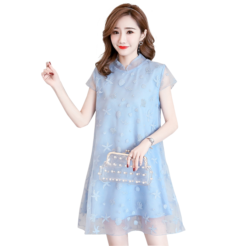 2018 Summer Wear New Chinese Cheongsam Style Maternity Women Dresses Pregnancy Clothing Pregnant Woman Dress Blue M L XL XXL