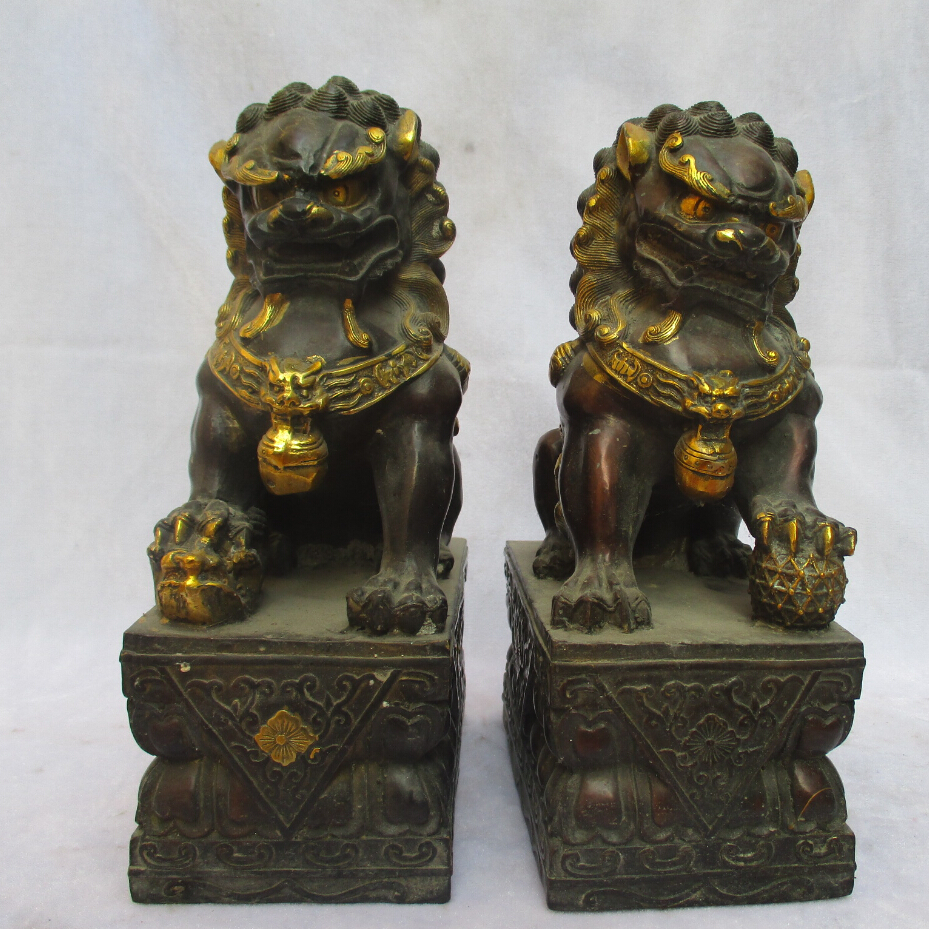 Big Sculpture Collectible 1 Pair Of Chinese Copper