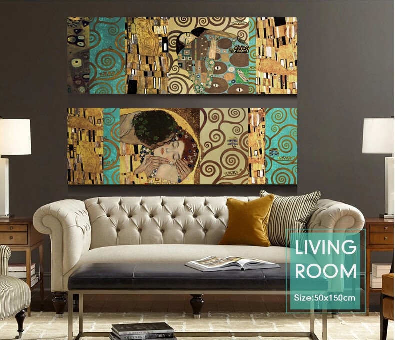 Artists Gustav Klimt The Kiss and The Tree of Life The new mix and match decorative forms Canvas Wall Art Painting Home Decor