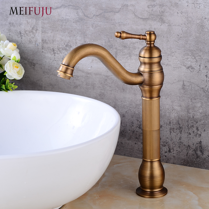 Vintage Deck Mounted Vintage Antique Finishing Brass Bathroom Sink Basin Faucet Hot & cold Bath Mixer Tap Single Handle Taps newly euro retro style bathroom basin faucet antique brass sink faucet mixer tap single crystal handle deck mounted