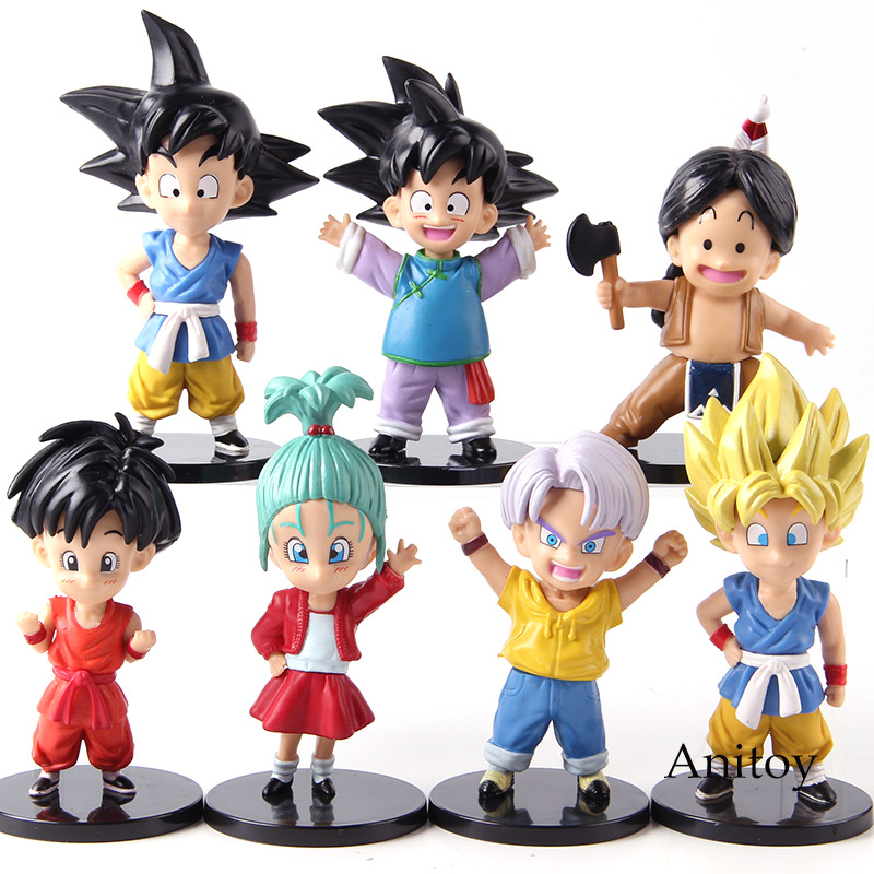 Action Figure Dragon Ball Z Son Goku Goten Trunks Upa Bulla Youth Ver. PVC Collectible Model Toys for Boys Gifts 7pcsset