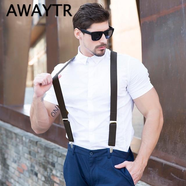 272af74a2 AWAYTR New Men s Suits Elastic Suspenders High Quality Men PU Leather 4 Clip  Suspenders Belt Strap