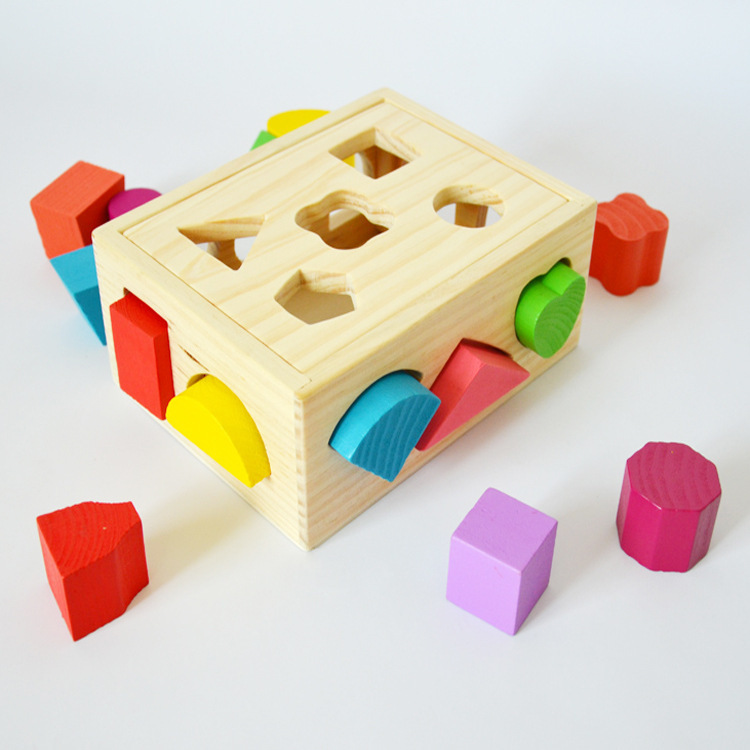 13 holes intelligence educational box Shape three-dimensional matching blocks brick wooden toys for children kid briquedos W008 learning education wood intelligence box montessori educational toys for children kids toy 13 holes shape sorter early toys