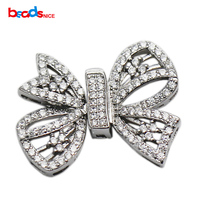 Beadsnice Sterling Silver Large Clasp CZ Pave Buckle Bow Shape Jewelry Making Accessories Handmade Necklace Findings