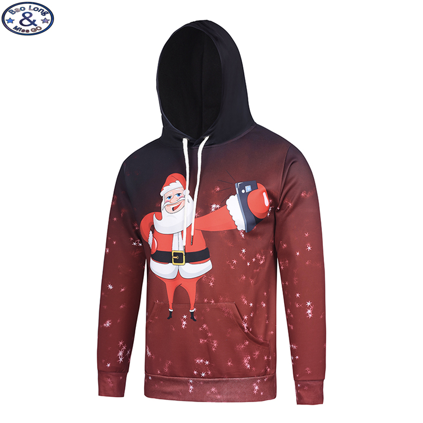 Mr.BaoLong New funny design Santa Claus 3D printed mens hooded pullover sweatshirts high quality hooded hoodies man H86