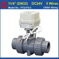 PVC 11 4 Electric Motorized Valve DC24V 5 Wires With Signal Feedback 2 Way DN32 Plastic