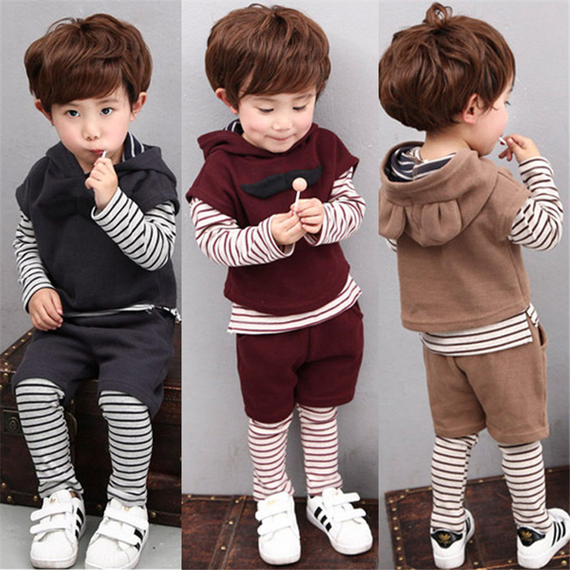 New Spring Autumn Boys Clothing Set 3 Piece Sets Children Kids Hooded Coat Suits Baby Boys Clothes Brand Infantil Next