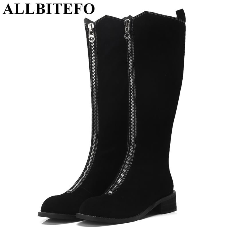 ALLBITEFO natural genuine leather women boots High quality winter girls knee high long boots fashion thigh high boots for woman allbitefo natural genuine leather women boots high quality winter girls knee high long boots fashion thigh high boots for woman