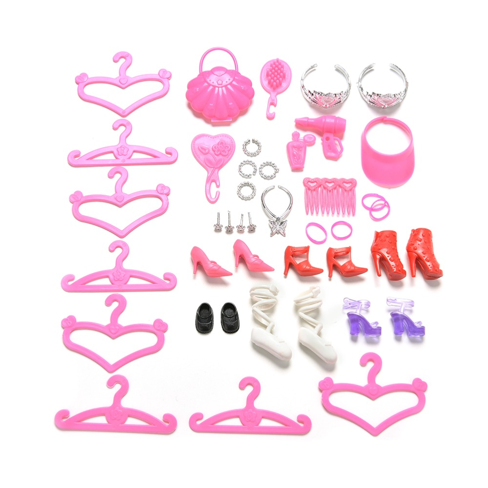 45 Pcs/Set Colorful Shoes Bag Hanger Comb Bracelet For Barbie Dolls Toys Child Gift Doll Accessories Hot Sell barbie dolls dress up best gift packs child toys items set doll accessories hangers bag shoe earring bowknot crown