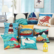 45x45cm Mediterranean Style Pillowcase Home Sea World Printed Cushion Cover Linen Sofa Decorative Throw Pillow Covers harry styles another man fashion decorative linen cushion covers for sofa 45x45cm cotton throw pillow case home decor almofada