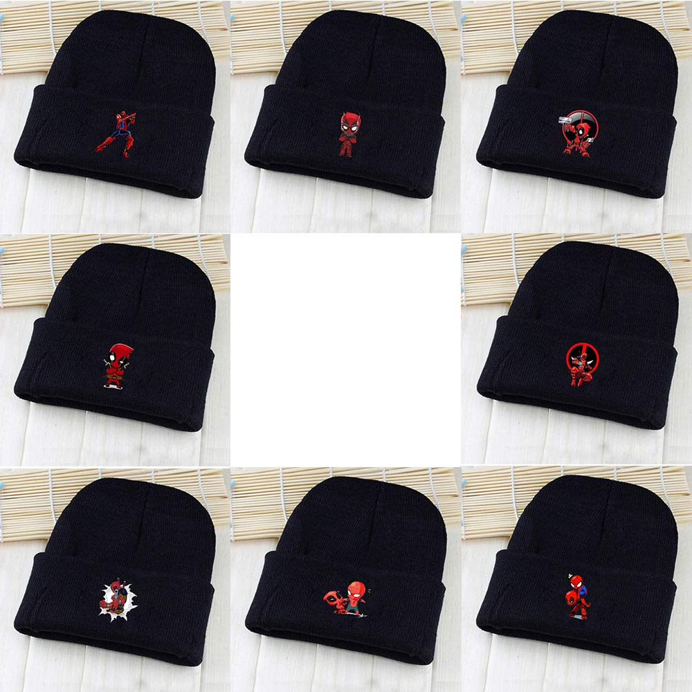 OHCOMICS Unisex Marvel Deadpool Superhero Pointy Hat Knitted Hat Cap Hip-Hop Beanies Solid Casual Caps Costume Accessory Gift