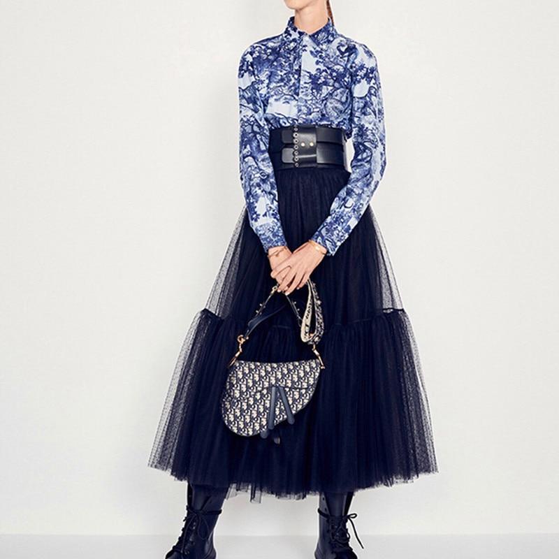 Negro Las Cintura Vestido Pista gris Elástico Mujeres Moda Elegante Faldas 2019 Lujo Maxi Gasa Negro Nueva De Malla qBHvgP