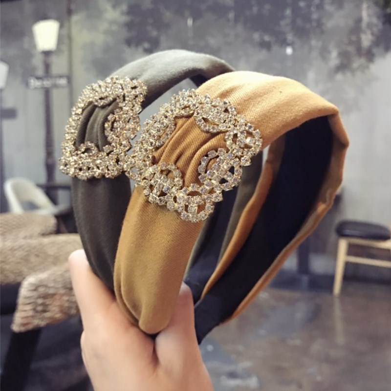 High-end luxury hair accessories diamond super flash solid color fabric wide-brimmed headband headband hair band   headwear   women