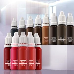 Image 1 - 23 Uds tinta permanente maquillaje pigmento 15Ml cosmético 23 tinta de tatuaje Color Set pintura para Microblading ceja labio maquillaje corporal