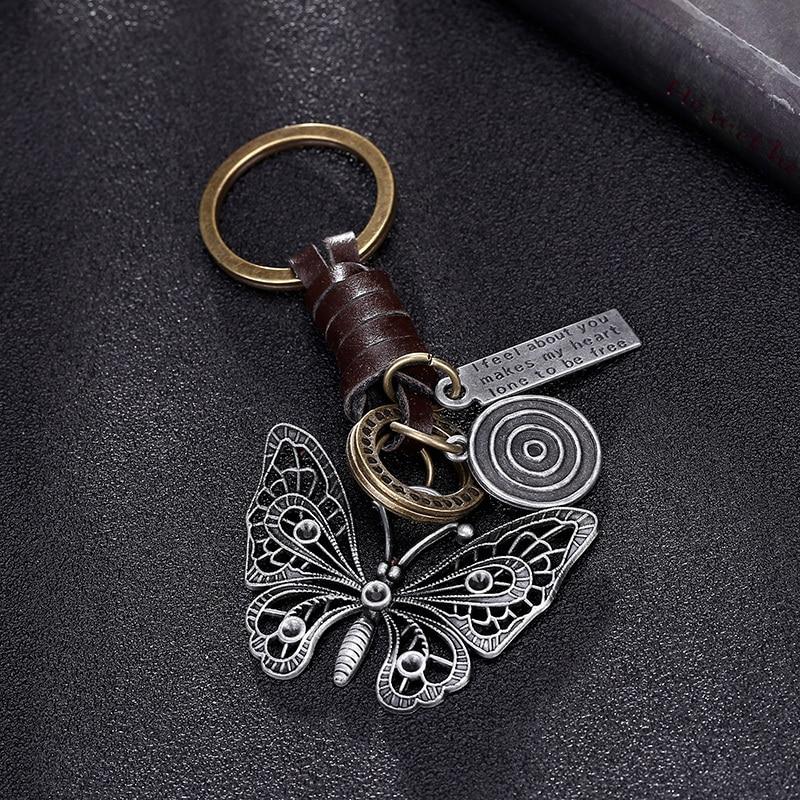 2018 Beautiful Butterfly Suspension Pendant Metal Leather Keychain For Girls Car Keys Chain Women Bag Handbag Purse Charms Men