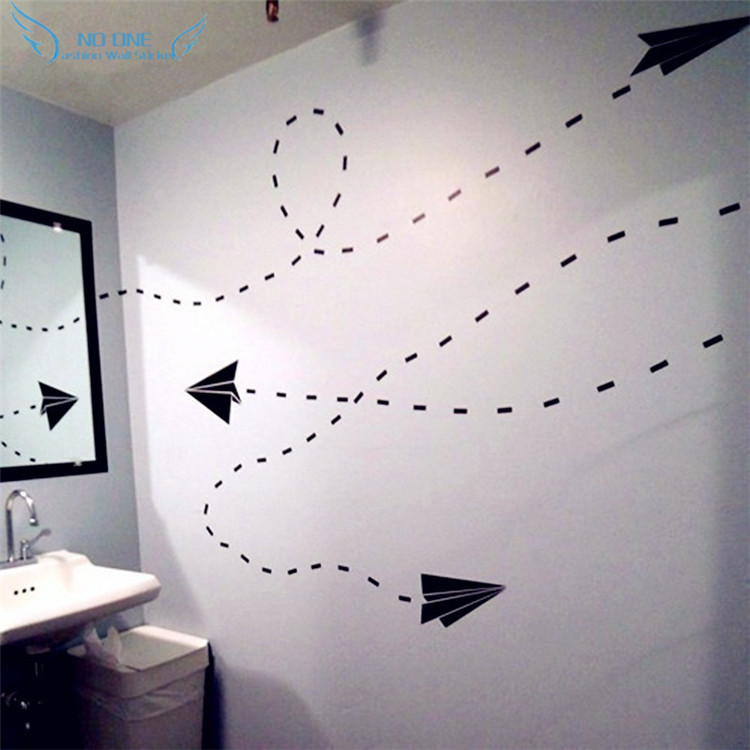 Graphic Arts Paper Airplane Wall Stickers Children Bedroom Decorations. Start Your Brain Airplane Routes You To Control Your DIY image
