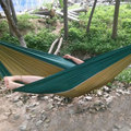 Portable Camping Hammock - Sturdy and Breathable Parachute Nylon built;  Tri-stitches - Best for both Indoor & Outdoor Camping