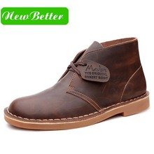 Genuine leather men winter boots ankle lace up men boots brown black leather winter men shoes