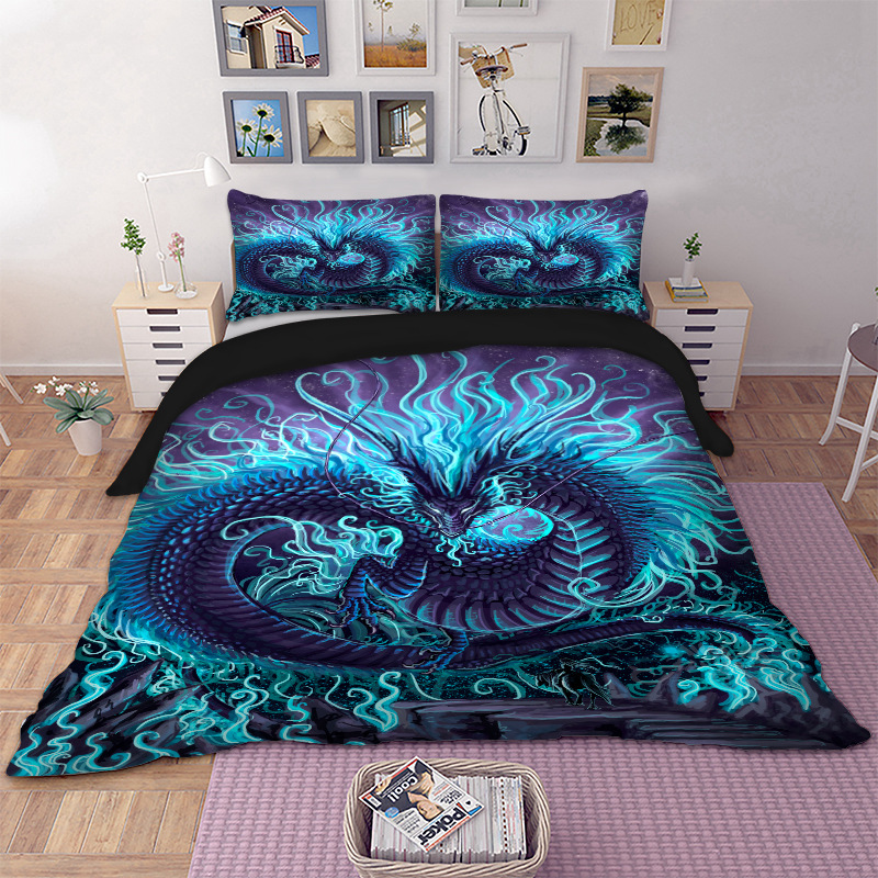 Cool Dragon Bedding Set Animal Duvet Cover Quilt Cover Bed