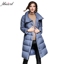 2017 Winter women's jacket coat Large lapel thicken warm down cotton coat parkas High-quality Straight long coat outerwear yz420